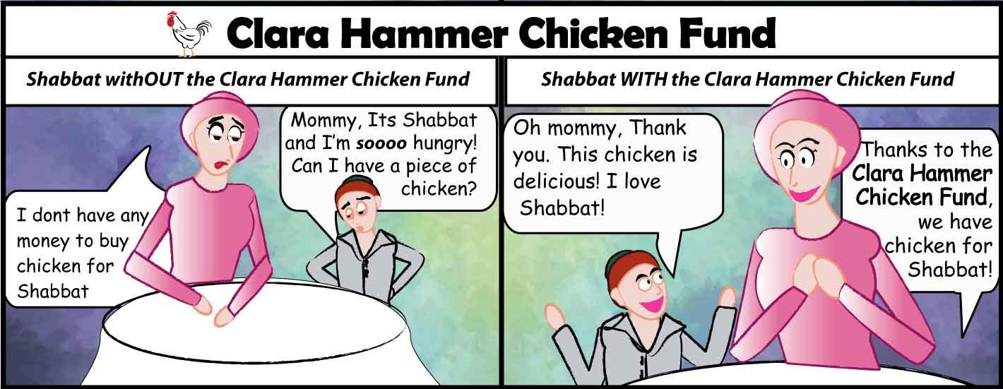 contributing to the Clara Hammer Chicken fund helps little children have chicken for Shabbat